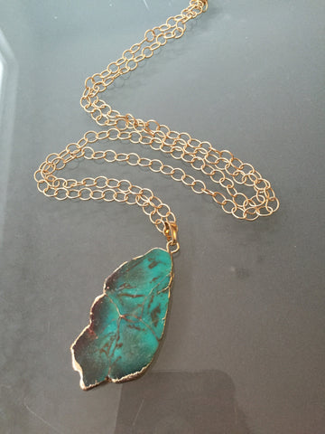 Turquoise Howlite Gemstone Slab Gold Electroplated Necklace - 14k Gold Plated Chain