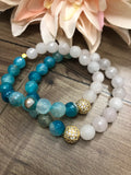 Dynamic Duos - Gold Rhinestone Edition - Blue Crackle Agate & Rose Quartz