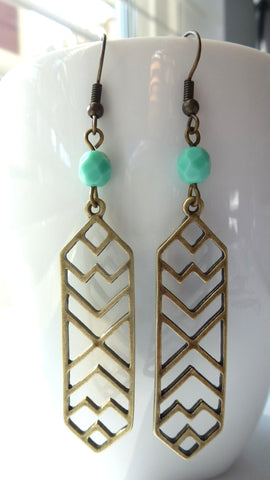 Aztec Earrings - Antique Brass