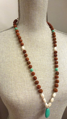 Rudraksha Necklace - Freshwater Pearl Accents