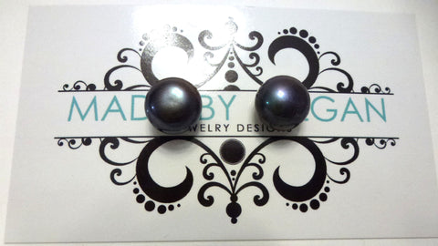 Black Freshwater Pearl Earrings - Large