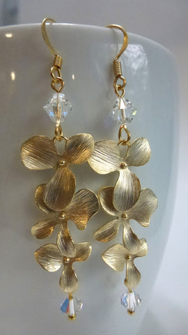 Orchid Earrings- Swarovski Crystals