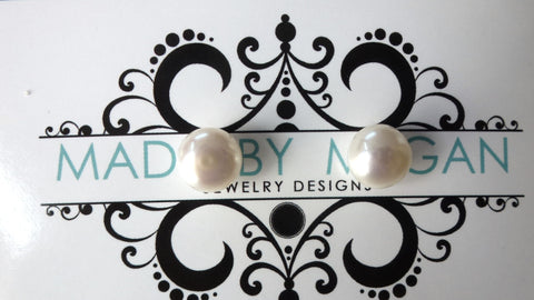 White Freshwater Pearl Earrings - Large