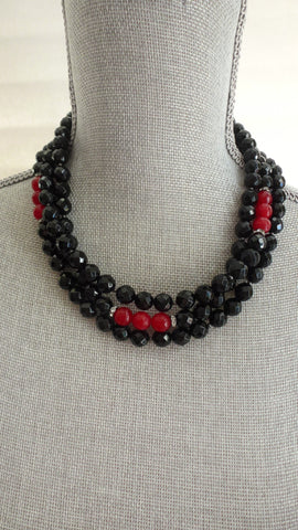 Desirae Gemstone Statement Necklace - Black & Red Edition