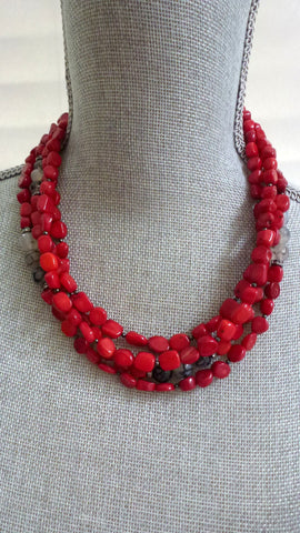 Deidra Necklace - Coral/Spiderweb Agate Gemstone Edition