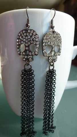 Rhinestone Skull Earrings