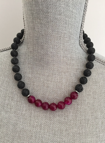 Aliya Necklace -Black Lavastone & Raspberry Agate Gemstone Statement Necklace