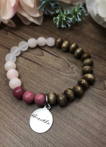 Breathe Bracelet - Mixed gemstone & distressed wood Mala bracelet