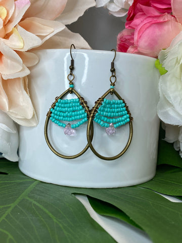 Turquoise & Light Pink Boho Gemstone Earrings