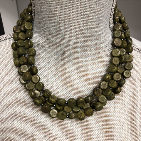 Indica Necklace - Martini olive green three strand statement necklace