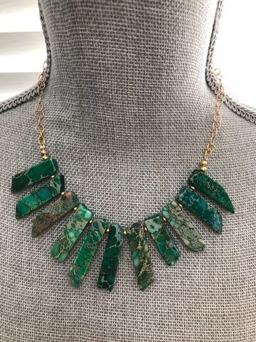 Lauren Necklace - Green Howlite Gemstone Statement Bib Necklace