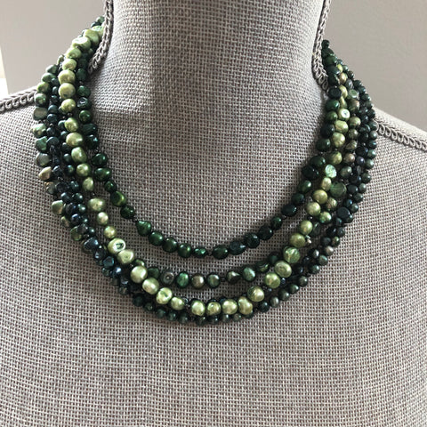 Green Freshwater Pearl Statement Necklace