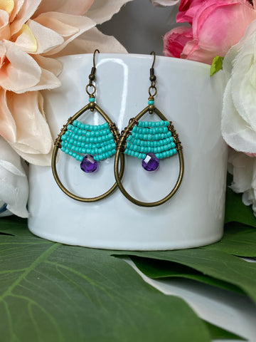 Turquoise & Amethyst Boho Gemstone Earrings