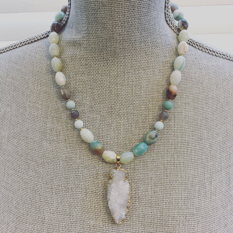 Harper Necklace - Amazonite & Agate Druzy Gemstones