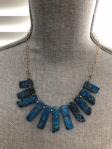 Lauren Necklace -  Dark Blue Howlite Gemstone Statement Bib Necklace