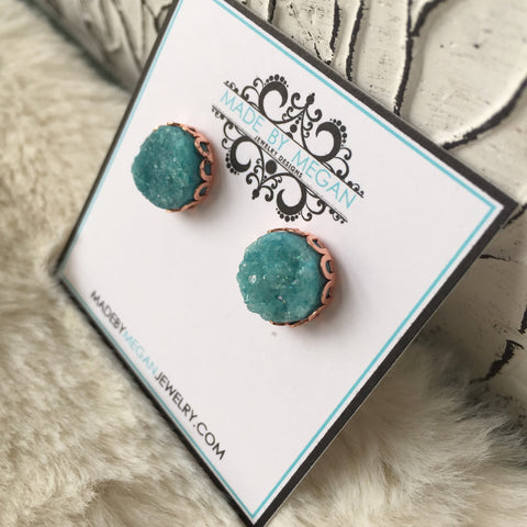 Olivia Earrings - Rose Gold Edition - Agate Druzy Gemstone Studs - Teal