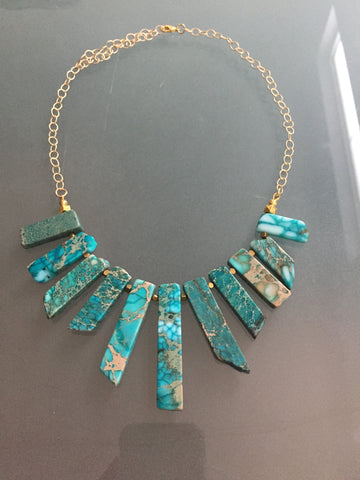 Lauren Necklace - Turquoise Howlite Gemstone Statement Bib Necklace
