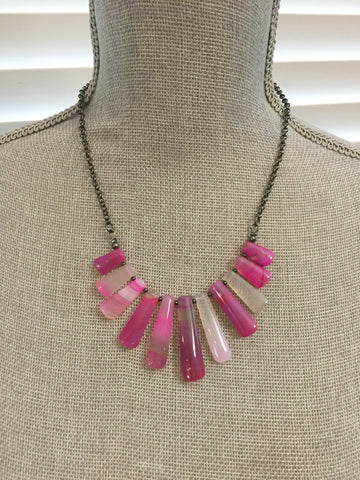Maya Statement Necklace - Pink Agate Edition