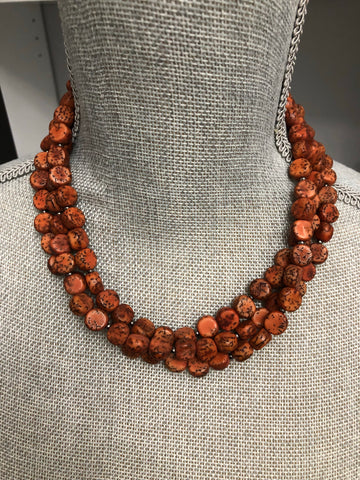 Indica Necklace - Rust three strand statement necklace