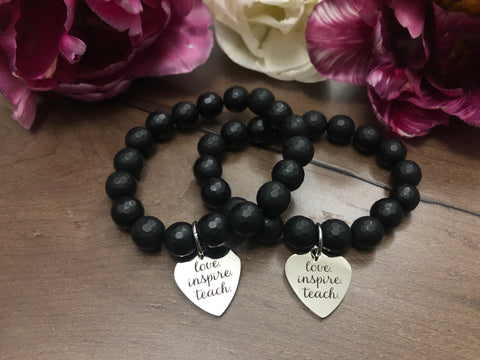 Love•Inspire•Teach Bracelet - perfect gifts for teachers- mala bracelets