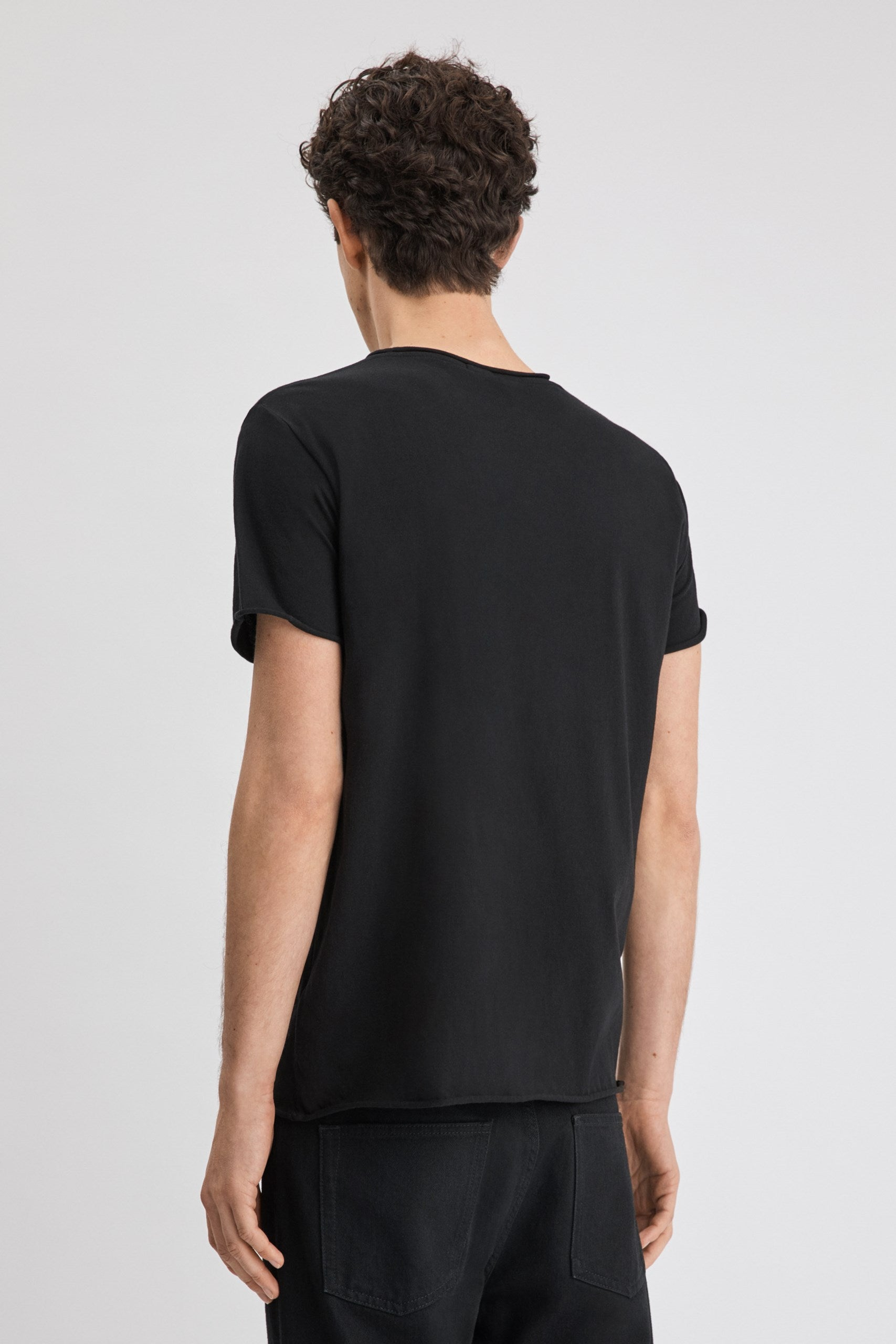 Roll Neck Tee Black