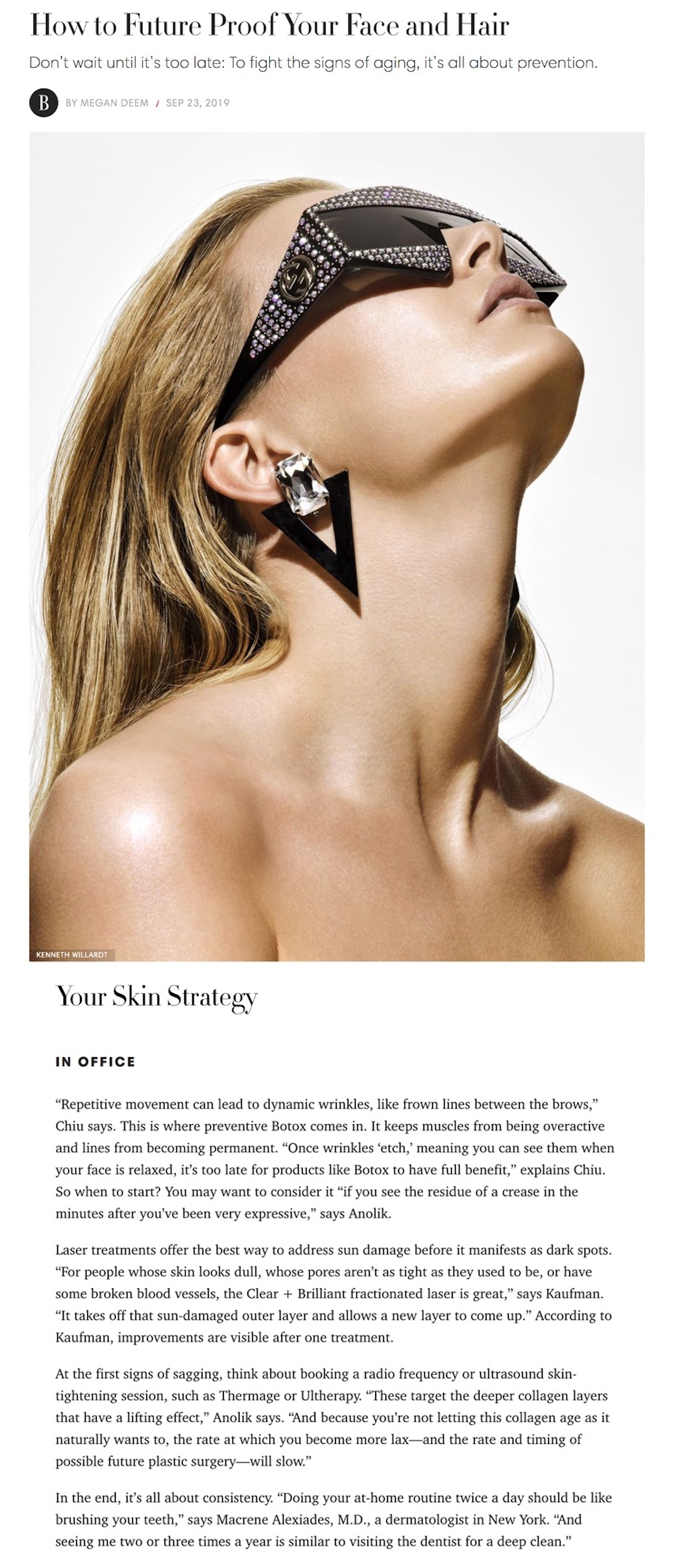 September 2019 - Harper's Bazaar: How to Future Proof Your Face and Hair