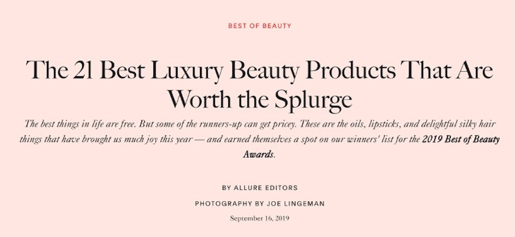 September 2019 - Allure Best of Beauty: Macrene Actives High Performance Neck and Décolletage Treatment Won the Best Splurges