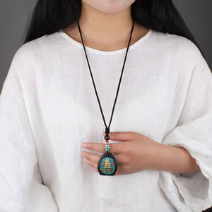 Buddha Wood Amulet Necklace