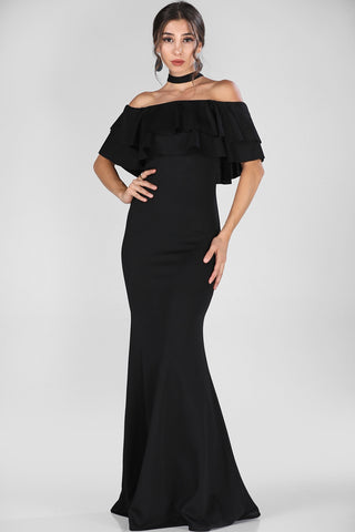 Boat Neck Black Evening Dress