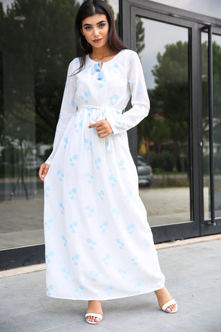 Layered Sleeves Patterned Dress