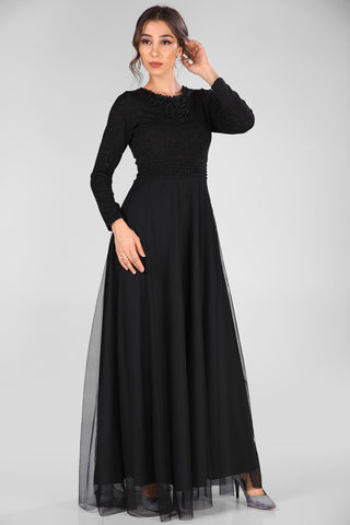 Back Button Silvery Black Evening Dress