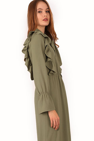 Women's Front Frill Khaki Modest Long Dress