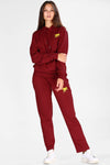 Women's Hooded Claret Red Sweat Suit
