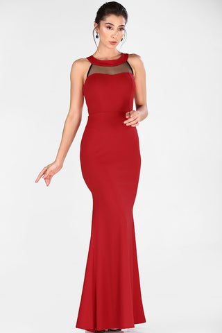 Open Back Tulle Embroidered Red Evening Dress