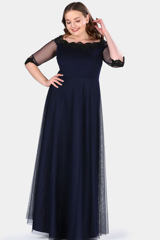 Oversize Boat Neck Navy Blue Evening Dress