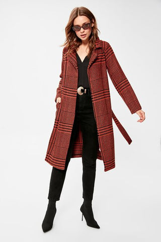 Women's Belted Patterned Cinnamon Cachet Coat