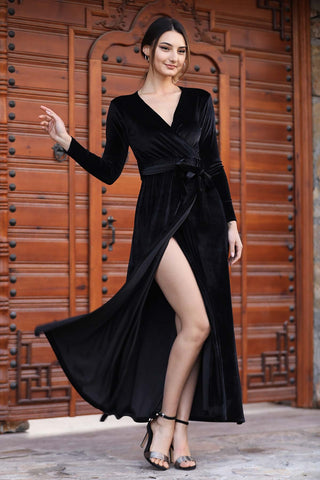 Women's Wrap Black Velvet Long Dress