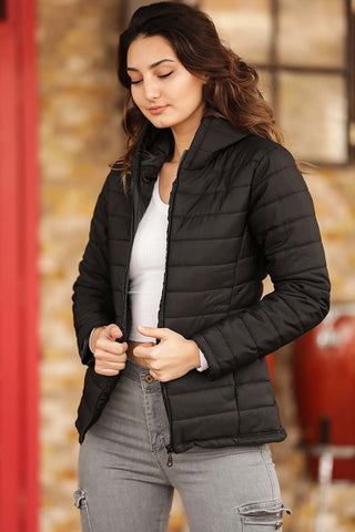 Women's Hooded Black Blown Coat
