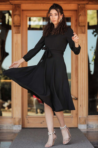 Women's Waist Tie Black Midi Dress