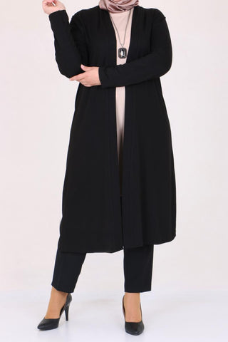 Women's Oversize Black Combed Cotton Cardigan