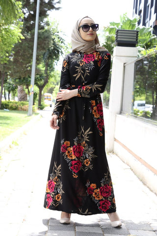 Women's Floral Pattern Black Long Dress