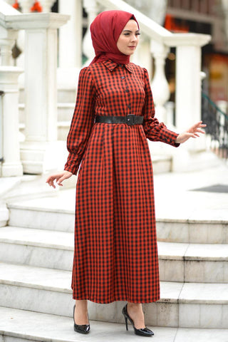 Women's Plaid Red Modest Long Dress