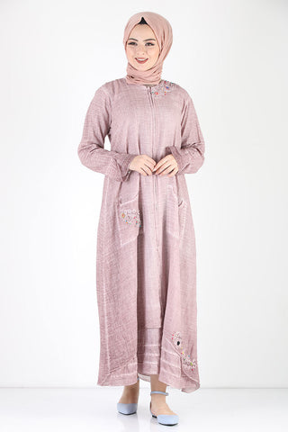 Women's Zipped Shabby Summer Dusty Rose Modest Abaya