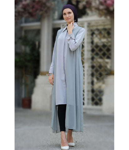 Women's Grey Chiffon Cardigan & Shirt