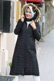 Women's Zipped Black Quilted Coat
