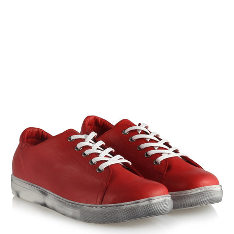 Women's Lace-up Red Leather Comfort Shoes