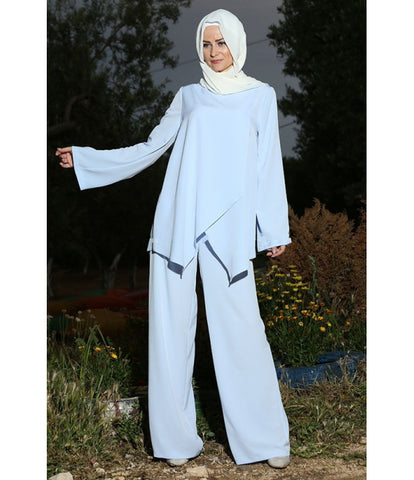 Women's Blue Tunic Pants Set