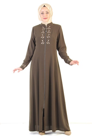 Women's Embroidered Khaki Modest Abaya
