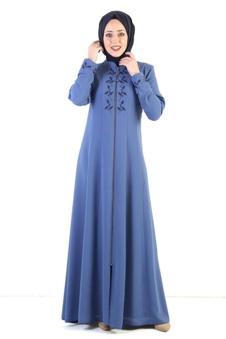 Women's Embroidered Blue Modest Abaya