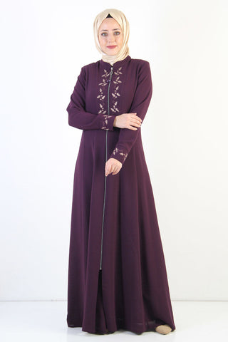 Women's Embroidered Purple Modest Abaya